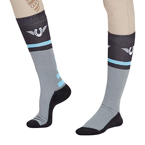 TuffRider Impulsion Knee Hi Socks | Color - LightCharcoal/NeonBlue | Size - Standard