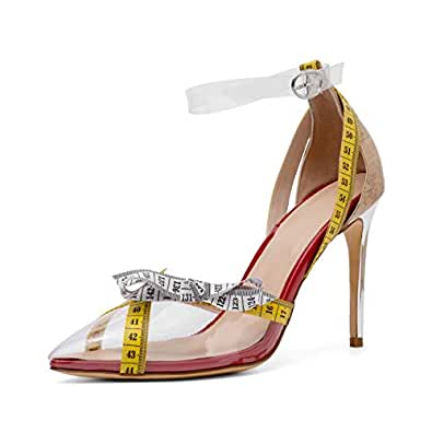 Mayou Clear Heels with Ankle Strap, Fashion High Heel Pointed Toe Dress Pumps Shoes Transparent with Clear Lucite Strappy Bukle Stilettos for Glamour, Party, Shopping Clear Size: 5.5