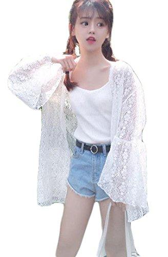 BSCOOLレディース レース カーディガン 夏 UVカット 日焼け止め 薄手 フレア アウター 冷房対策 フェミニン ゆったり カーディガン シースルー 韓国ファッション