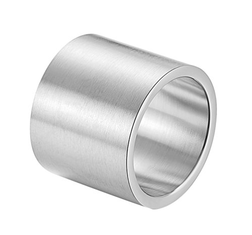 - ALEXTINA Men's 19MM Stainless Steel Big Silver Wide Band Rings Wrapped Vintage Cuff Ring Size 12