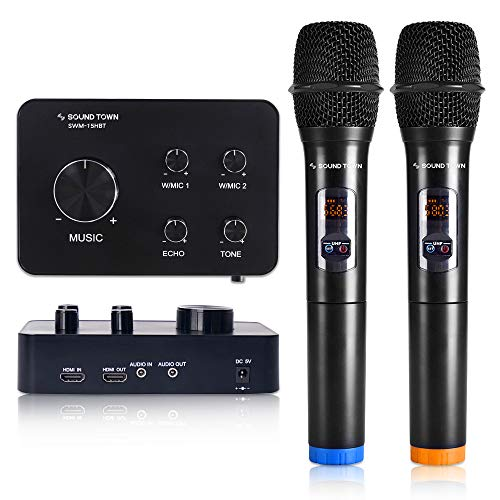 Sound Town 16 Channels Wireless Karaoke Mixer System with Bluetooth, HDMI, AUX and 2 Handheld Microphones, Works with TV, PC, Home Theater and More (SWM15-HBT)
