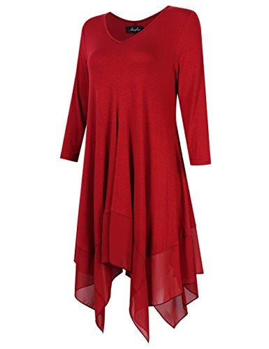 KoJooin Langarm Soie T Tunique Blouse Mesdames Casual Casual Longshirt en Asymtrique Taille Shirt Dunkelrot Top Mousseline Plus de Oversize RFrRq