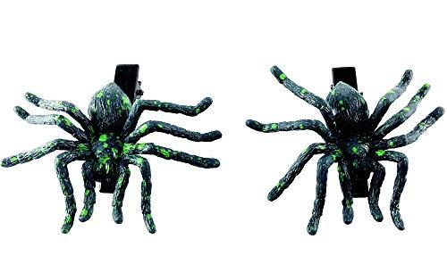 Pueng Star Hallowen hair clip Scary green Spider hair clip set of -