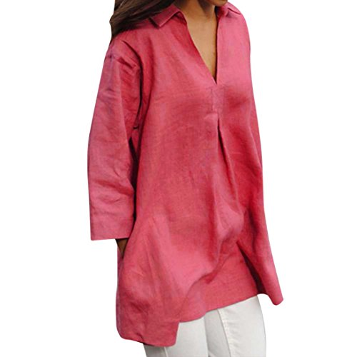 (ZOMUSAR Clearance Sale Women Casual Autumn Solid Linen Blouses Loose V Stand Neck Tops Three Quarter Sleeve T-Shirts (XXXXXL, Hot Pink))