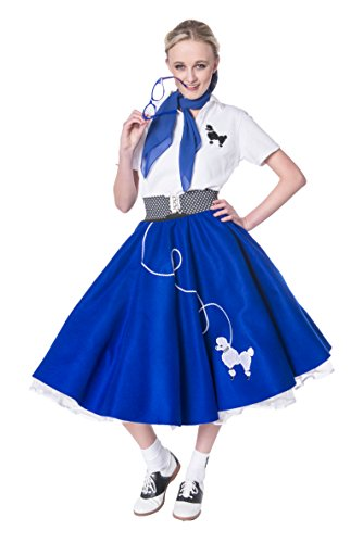 Hip Hop 50s Shop Adult 7 Piece Poodle Skirt Costume Set Royal Blue (Satin Poodle Dress Adult Costumes)