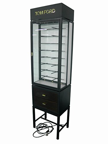 FixtureDisplays Deluxe Eyeglass Display w/ 2 Drawers & Lights Illuminating, Floor Standing, Holds 16 Pairs - Black 2450-NPF by FixtureDisplays