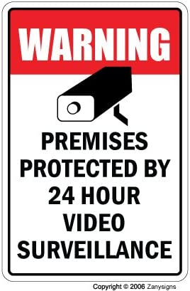 VIDEO SURVEILLANCE Sign Property Protected 24 Hour security protection warning | Indoor/Outdoor | 14