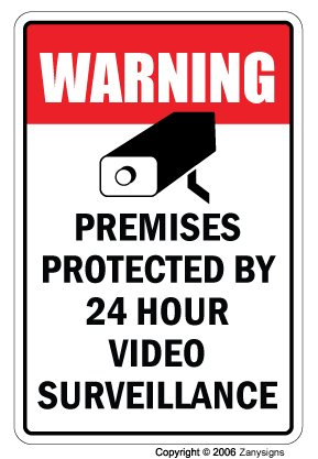 "Video Surveillance Sign Property Protected 24 Hour Security Protection Warning | Indoor/Outdoor | 12"" Tall 