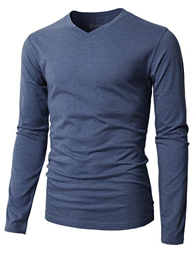 (H2H Mens Casual Slim Fit Long Sleeve V-Neck T-Shirts DARKBLUE US M/Asia L (KMTTL0374))
