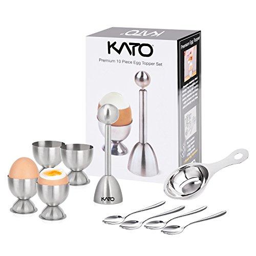 Kato Egg Cracker Topper Set, Hard Soft Boiled Egg Cutter, Include Egg Topper Shell Remover, Egg Cups, Egg Spoons and Egg Separator, 10 Pcs Stainless Steel Tools ()