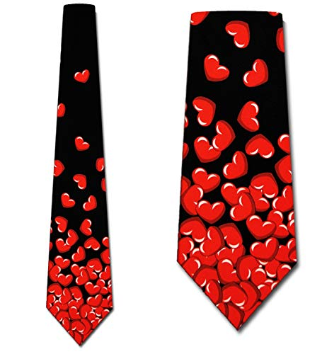 - Falling Hearts tie broken heart ties Mens necktie by Three Rooker