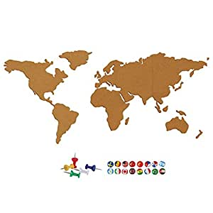 Outgeek Cork Board Set World Map Pattern Self Adhesive Cork Sheet with 24 Push Pins
