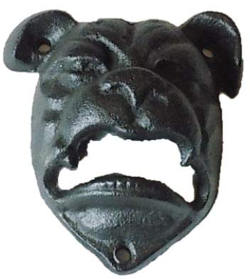 1 Cast Iron Black Bull Dog Pitbull Wall Mounted Bottle Opener For Bar Kitchen Home Decor Man Cave For Sale