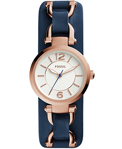 Fossil ES3857 Georgia Artisan Navy Leather Watch