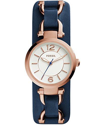 (Fossil ES3857 Georgia Artisan Navy Leather Watch)