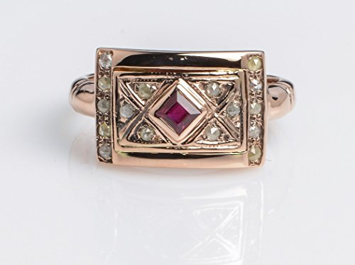 Designer Garnet Jewelry Set (Handmade Square Ring with Garnet and Rose Cut Diamonds set in 14K Rose Gold Designer Jewelry, Sizes US 4-11)