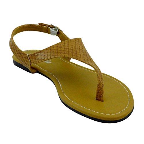 Bonita Femmes T-strap Sangle Réglable Sandales Plates V-01 Tan