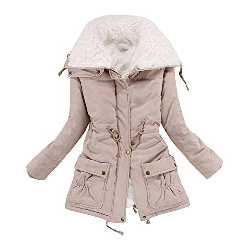 Aro Lora Women's Winter Warm Faux Lamb Wool Coat Parka Cotton Outwear Jacket US X-Large Khaki