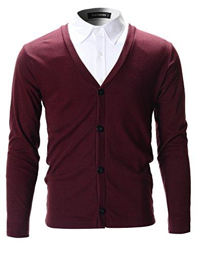 FLATSEVEN Mens Slim Fit Stylish Button up Cardigan (C100) Wine, S