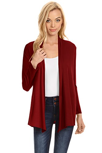 Wine Long Sleeve Open Front Cardigan for Women,Wine,X-Large ()
