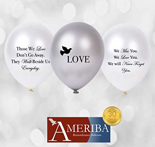 Biodegradable Remembrance Balloons: 30pc White & Silver Personalizable Funeral Balloons for Balloon Releases & Sympathy Gifts | Created/Sold by AMERIBA, a USA Company (Variety Pack, Black Writing) -