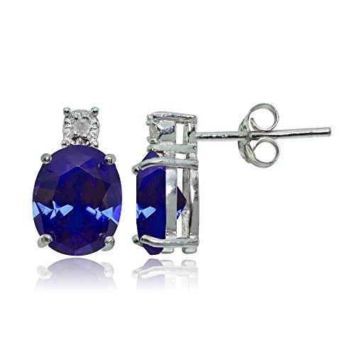 ted Blue Sapphire Oval Drop Stud Earrings ()