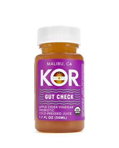 Master Cleanse Water - Kor Shots - Gut Check - Organic Cold Pressed, Probiotic Apple Cider Vinegar, Energy Juice Shot - 1.7 Fl Oz - 24 Pack