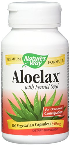 Natures Way AloeLax, 340 milligrams, 100 Vegatarian Capsules. Pack of 2 Bottles