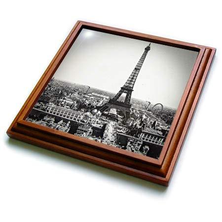 3dRose Scenes from the Past - Magic Lantern - Vintage Magic Lantern Slide Eiffel Tower Paris France 1889-8x8 Trivet with 6x6 ceramic tile (trv_301270_1)