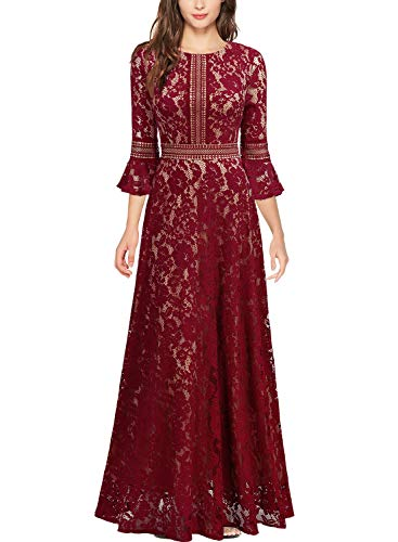 MISSMAY Women's Vintage Full Lace Contrast Bell Sleeve Formal Long Dress, Small, Red
