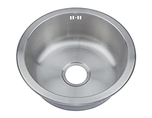 Amazon.com: Brushed Stainless Steel Round Bowl Inset Kitchen Sink ...