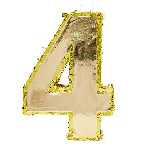 Juvale Small Number 4 Gold Foil Pinata, Fourth Birthday Party Supplies, 15.5 x 11 x 3 Inches