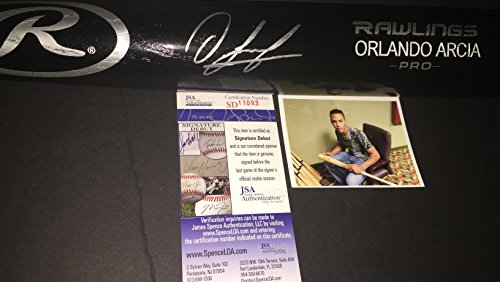 Orlando Arcia Milwaukee Brewers Autographed Signed Black Baseball Bat JSA COA