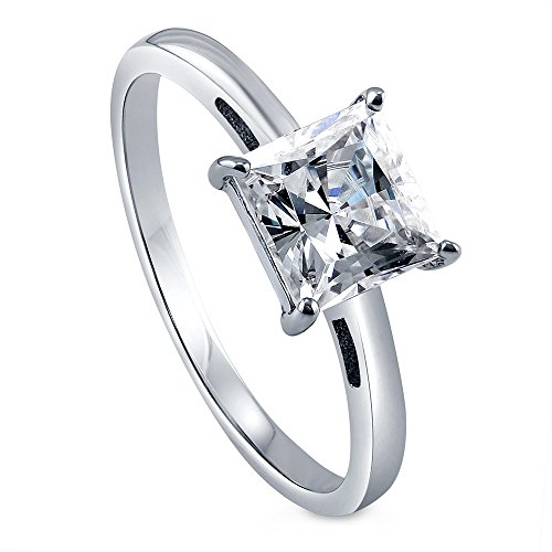 BERRICLE Rhodium Plated Sterling Silver Princess Cut Cubic Zirconia CZ Solitaire Promise Engagement Ring 1.59 CTW Size 7