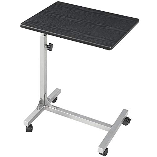 Over-Bed Tray-Table with Lockable Wheels, 3 Height Adjustable Sofa-Side Table, Rolling Medical Eating Tray Table, Portable Laptop Computer Desk