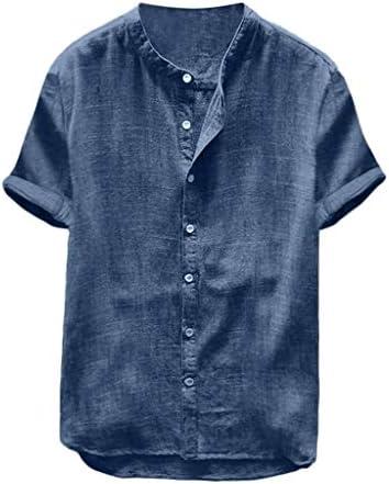 Willow S Men`s Baggy Cotton Linen Solid Color Short Sleeve Button Retro T Shirts Tops Blouse Navy