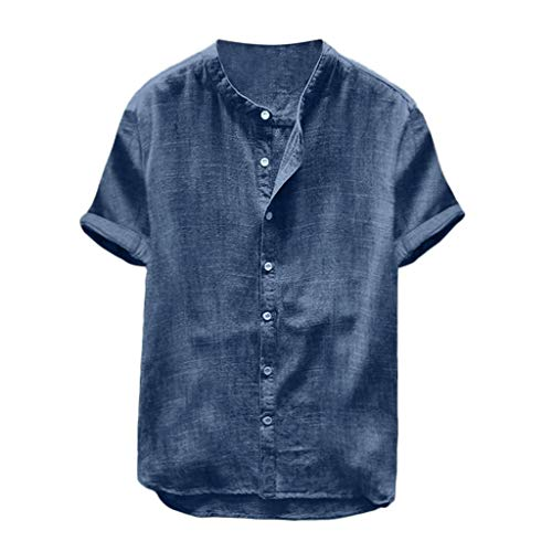 (Mens Short Sleeve Henley Shirt Cotton Linen Beach Casual Loose Fit Henleys Tops Blouse Retro Solid Color Tee Navy)
