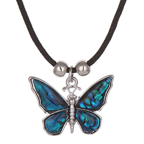 Barch Charming Abalone Blue Paua Shell Butterfly Necklace Choker Silver Chain 16