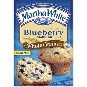 Martha White, Whole Grains, Blueberry Muffin Mix, 7oz Pouch - 4 Pack
