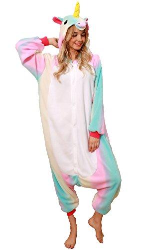 NEWCOSPLAY Unicorn Costume Sleepsuit Adult Onesies Pajamas (S, Rainbow)