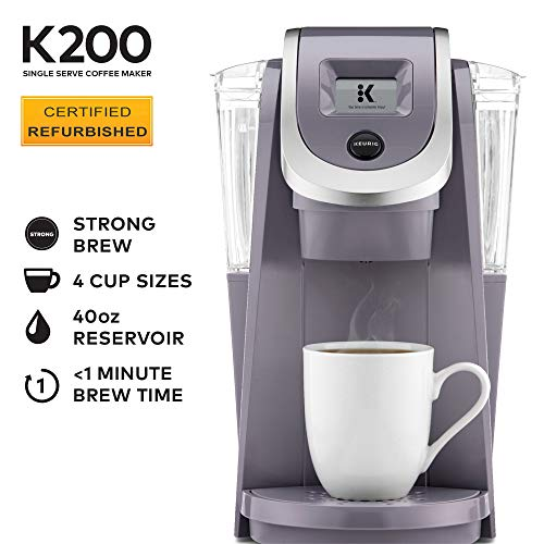 Keurig K200 Certified Refurbished Coffee Maker, Single Serve K-Cup Pod Coffee Brewer, With Strength Control, Plum Gray