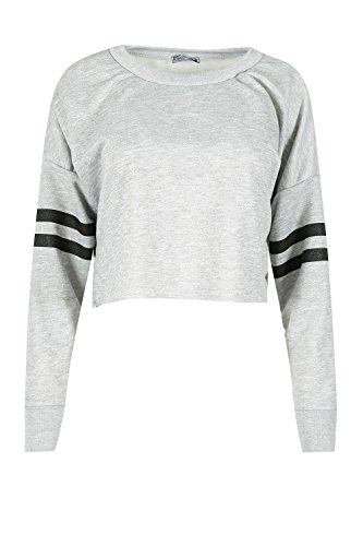 Fleece Cropped Pullover - Womens Ladies Sports Stripe Long Sleeve Knit Baggy Fleece Cropped Top Sweatshirt