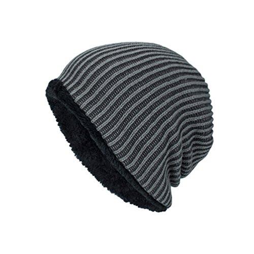 Invierno Suave Punto de Sombreros Rayas Vellosidades Gris más Gorro YiJee Jacquard Popular Diseño Hombre TfqUaU