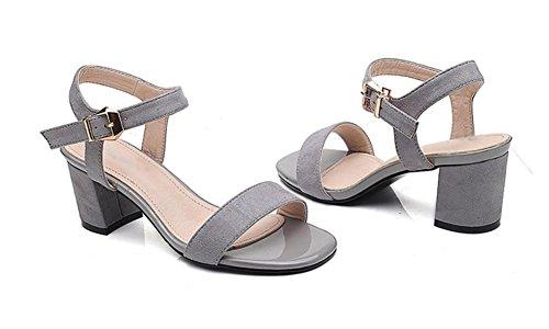 sandalias de tacón alto femeninos de espesor de gamuza mate hebilla con los zapatos de punta abierta sandalias respirables Grey