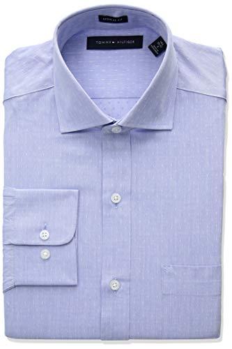 Tommy Hilfiger Men's Dress Shirts Regular Fit Solid, Afternoon Sky 17.5