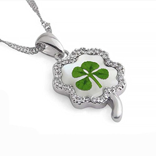 Real Clover (Stainless Steel Real Irish Four Leaf Clover Good Luck Pendant Necklace, 16-18 inches)