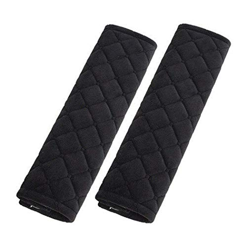Alusbell Car Seatbelt Pads,Soft Cotton Blend Shoulder Strap Belt Covers Harness Protector For Cars/Bags/Cameras/,Perfect Stress Relax for Your Neck (Black) ()