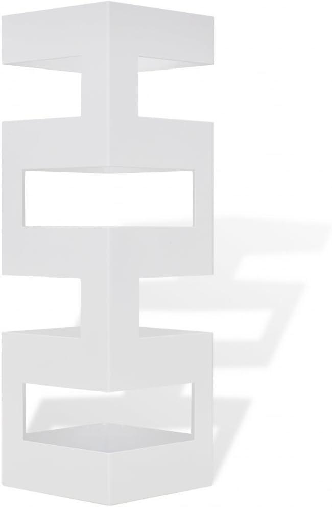 Festnight Portaombrelli e bastoni da Passeggio Quadrato Bianco Acciaio 48,5 cm