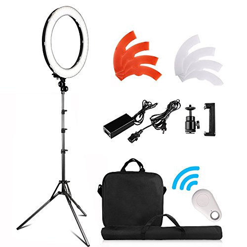 18 inch LED Ring Light Kit, FOSITAN 18 inches/48cm Outer 55W 5500K Dimmable 240 LED Ring lighting Kit with 2M Light Stand work with Smartphone and SLR Camera for Vlogging, Make-up artist, Videographer by FOSITAN