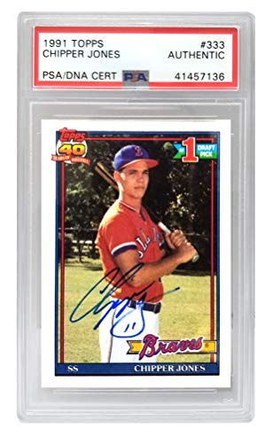 Chipper Jones Signed Atlanta Braves 1991 Topps Rookie Trading Card #333 - (PSA Encapsulated)